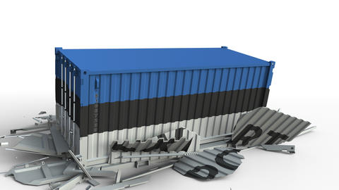 Cargo container with flag of Estonia breaks container with EXPORT text Live Action