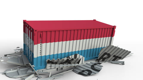 Cargo container with flag of Luxembourg breaks container with EXPORT text Live Action