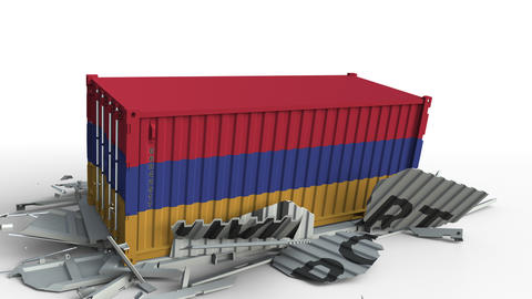 Container with flag of Armenia breaks container with IMPORT text. Conceptual 3D Live Action