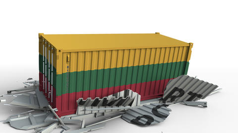 Container with flag of Lithuania breaks container with IMPORT text. Conceptual Live Action