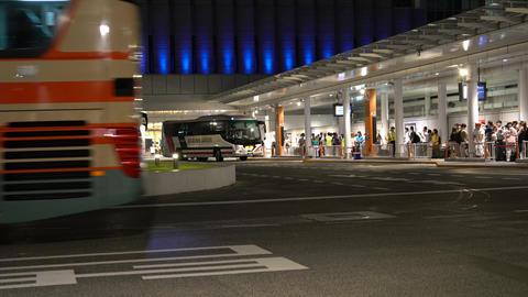 Tokyo,Japan-July 29, 2019: Busy bus stops at Shinjuku Expressway Bus terminal or Busta Shinjuku in Live Action