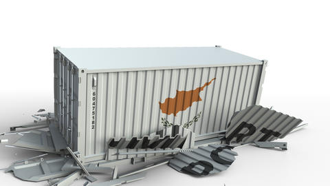 Container with flag of Cyprus breaks container with IMPORT text. Conceptual 3D Live Action
