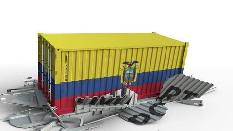Cargo container with flag of Ecuador breaks container with IMPORT text Live Action