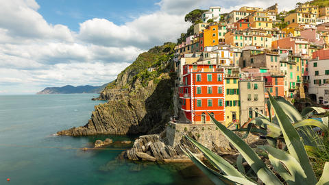 Time Lapse of the beautiful and scenic seaside village of Riomaggiore in Italy Live Action