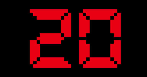 20 Second Digital Countdown Timer In Red GIF
