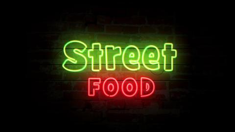 Street food neon symbol on brick wall Animation