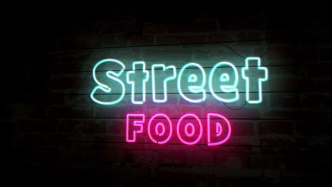 Street food neon on brick wall Animation