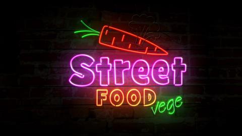Street food vege neon on brick wall Animation