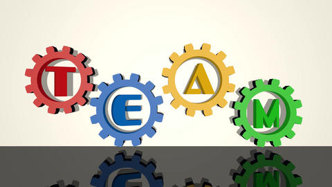 Team, inscription in gears, red, blue, yellow, green element on white background Animation