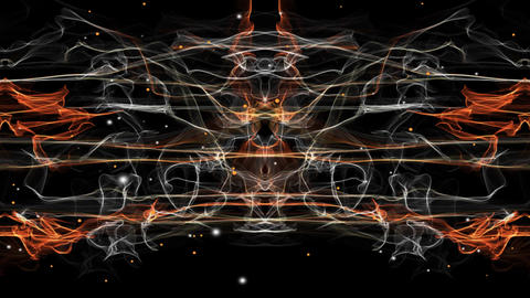 Fractal movie, vertical symmetry, white and orange flames, white and orange Animation