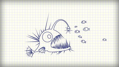 Angler fish using light bulb symbol as a lure Animation