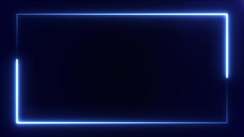 blue color neon frame at the screen edge on black background. 3D rendering 4k