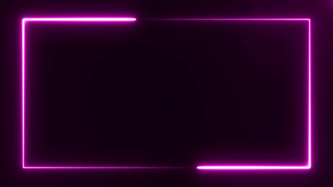 bright purple light neon frame on black background, abstract digital 3d Live Action