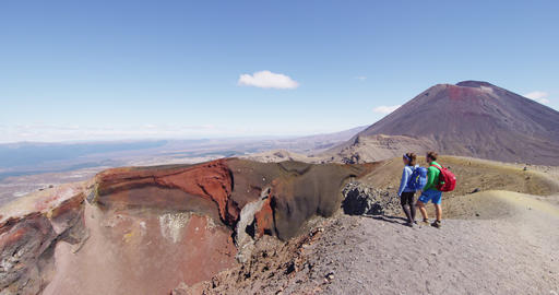 Travel Adventure in New Zealand - People Hiking In At Tongariro National Park Live Action