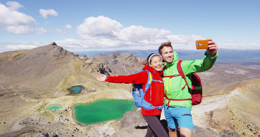 Backpackers Taking Selfie Photo Living Outdoor Adventure Hiking Lifestyle Live Action