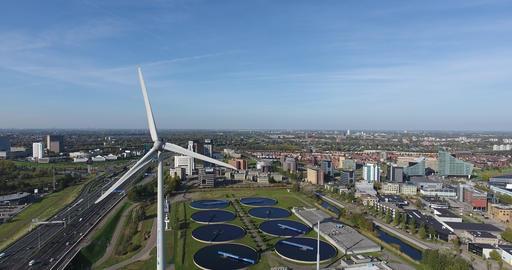 Wind turbine, Aerial view Rotterdam,Netherlands Footage