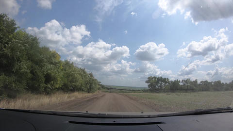 Timelapse of the road trip through the countryside, view from the cabin, 4k Live Action