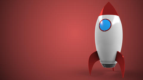 Logo of TOSHIBA on a toy rocket. Editorial conceptual success related animation Live Action