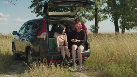 Positive tourist women relaxing in car trunk Footage