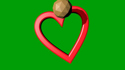 Red heart with golden sphere and golden sphere particles moving on green mat Animation