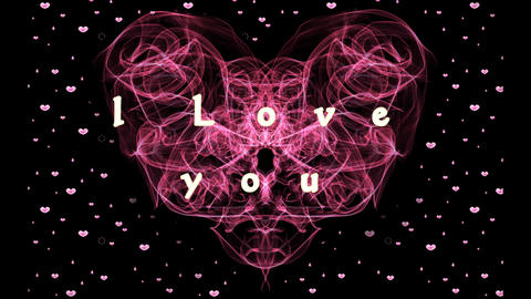 red fractal heart with I love you inscription. Particle hearts on black Animation