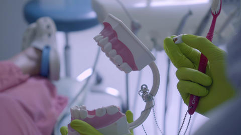 Close-up of female hands in gloves brushing teeth to jaw mock. Dental treatment Live Action