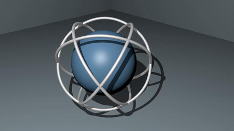 Sphere in wireframe sperical space rotating on light gray background. 3d Animation