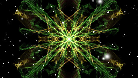 Light green symmetric fractal patterns with white flying lights. Mandala for Animation