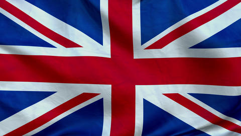 State flag of Great Britain is developing rapidly in the wind Animation