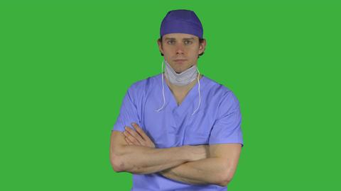 Unhappy man in scrubs (Green Key) Footage