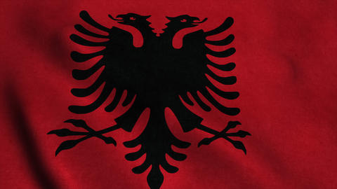 Realistic Ultra-HD flag of the Albania waving in the wind. Seamless loop with hi Animation