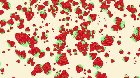 seamless loop of strawberries falling down Animation