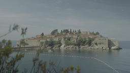 Tourist symbol of Montenegro. Sveti Stefan. The Balkans Footage