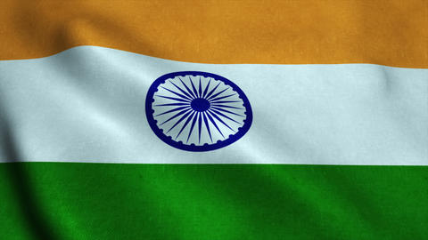 Realistic Ultra-HD flag of the India waving in the wind. Seamless loop with high Animation
