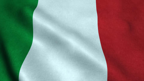 Realistic Ultra-HD flag of the Italy waving in the wind. Seamless loop with high Animation
