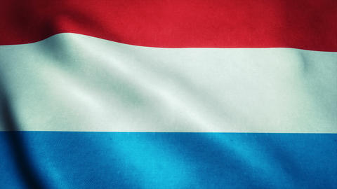 Realistic Ultra-HD flag of the Luxembourg waving in the wind. Seamless loop with Animation