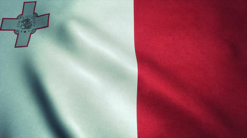 Realistic Ultra-HD flag of the Malta waving in the wind. Seamless loop with high Animation