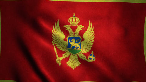 Realistic Ultra-HD flag of the Montenegro waving in the wind. Seamless loop with Animation