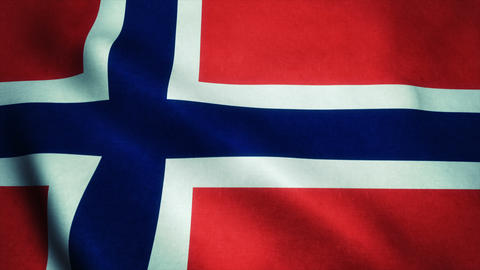 Realistic Ultra-HD flag of the Norway waving in the wind. Seamless loop with hig Animation