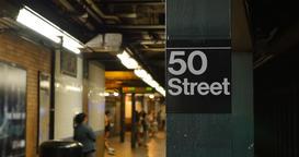 Manhattan 50th Street Subway Platform Establishing Shot Footage