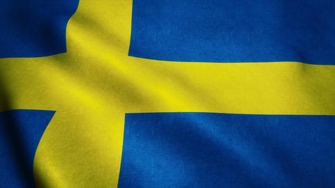 Realistic Ultra-HD flag of the Sweden waving in the wind. Seamless loop with hig Animation