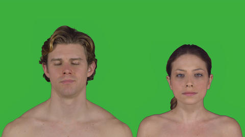 Nude couple stands facing camera (Green Key) Footage