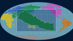 Nepal - 3D tube zoom (Mollweide projection). Continents Animation