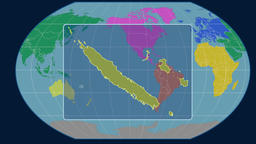 New Caledonia - 3D tube zoom (Kavrayskiy VII projection). Continents Animation