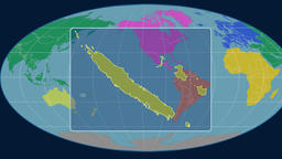 New Caledonia - 3D tube zoom (Mollweide projection). Continents Animation