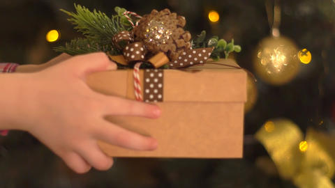 Close-Up Of Girl Hand Give A Gift To Friend Live Action