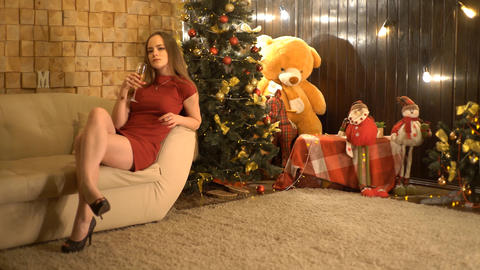 Charming Woman Celebrating Christmas In Red Dress Live Action