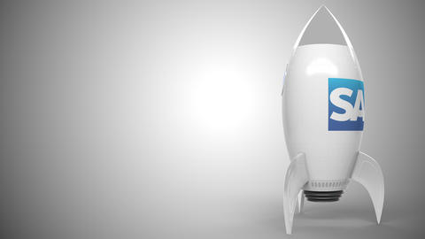 SAP logo against a rocket mockup. Editorial conceptual success related animation Live Action