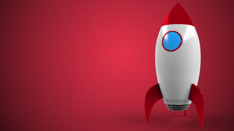 Logo of SANTANDER on a toy rocket. Editorial conceptual success related Live Action