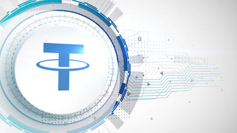 tether cryptocurrency icon animation white digital elements technology background Animation